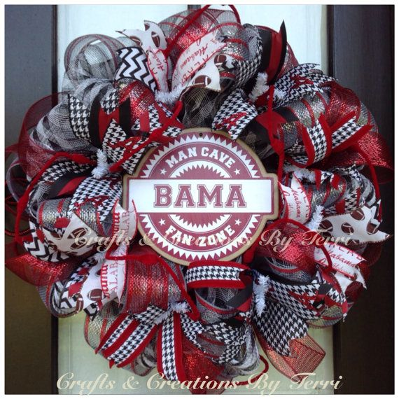 ALABAMA Wreath - Roll Tide - Crimson Tide - Alabama College Football - Houndstooth Wreath - Deco Mesh Wreath - Door Decor - Ready To Ship