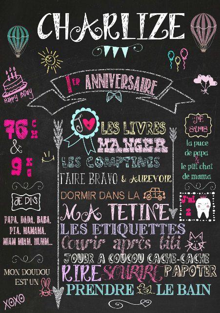Chalkboard Affiche Premier Anniversaire Bébé/adulte par Lilawedding