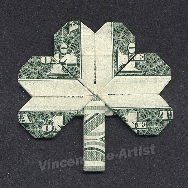 Dollar Bill Origami SHAMROCK LEAF Good Luck by VincentTheArtist, $9.94