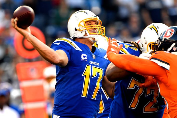 Broncos vs. Chargers:   October 13, 2016  -  21-13, Chargers   -      San Diego Chargers quarterback Philip Rivers #17 delivering he football and has lead his team to a 10-3 lead over the Denver Broncos at Qualcomm Stadium, San Diego, CA October 13, 2016.