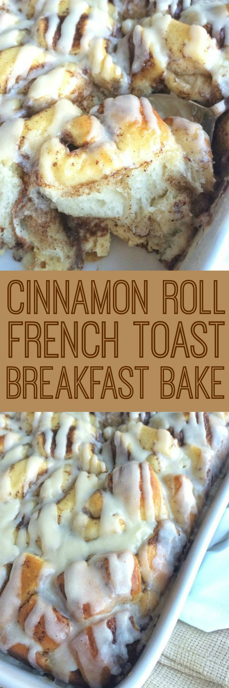 Easy, frozen cinnamon rolls soaked in a milk & egg mixture overnight. Bake it up in the morning and you have a delicious breakfast bake that everyone will love. This cinnamon roll french toast breakfast bake is perfect for a special occasion breakfast or for guests.