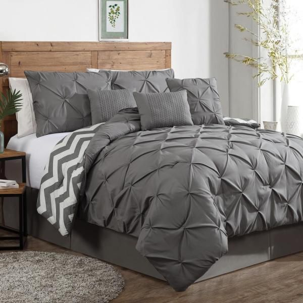 GENEVA HOME FASHION Germaine 5-Piece Pinch Pleat Gray Twin Comforter Set, Grey