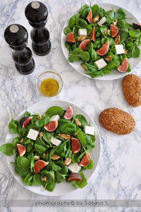 Due bionde in cucina: Insalata con spinacino, primosale, fichi e noci