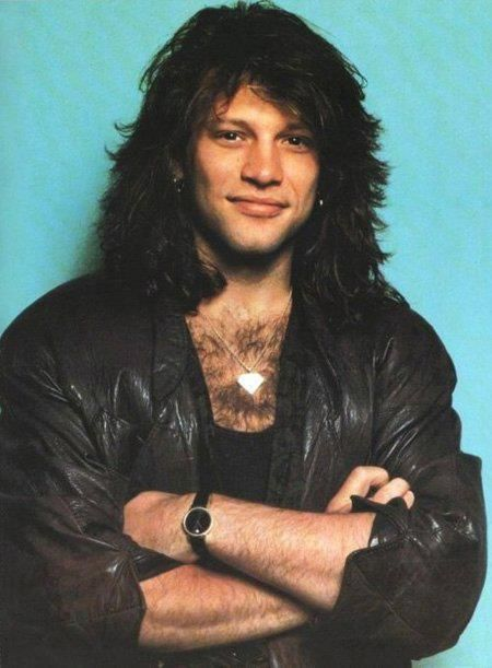 Jon Bon Jovi - OMG, I love this pic. He still had that gorgeous, thick mane of hair (in its natural color), his earrings, and wasn't shaving/waxing his chest hair back then. His hair is shorter than it was during NJ Syndicate Tour & Blaze of Glory eras, so I'm guessing it's from 1991.