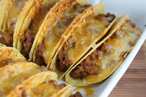 Baked Tacos!! These were amazing!!! I used my regular taco meat, but loved the result of baking them already filled!
