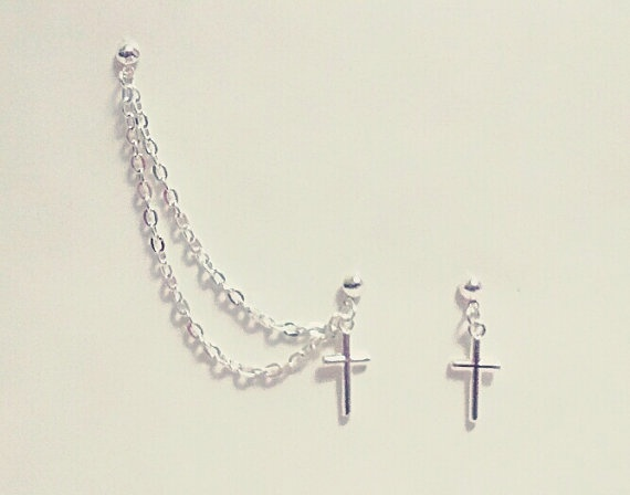 Cross Chain Cuff/Cartilage Earrings by SimplyyCharming on Etsy, $7.50