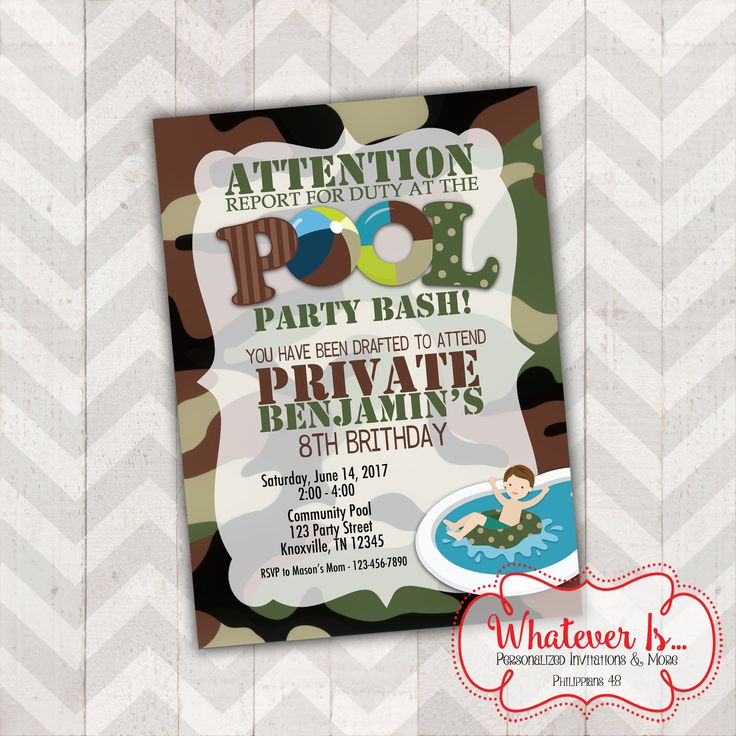 happy birthday invitation pictures%0A Army Pool Party Bash Birthday Printable Invitation by WhateverIs on Etsy