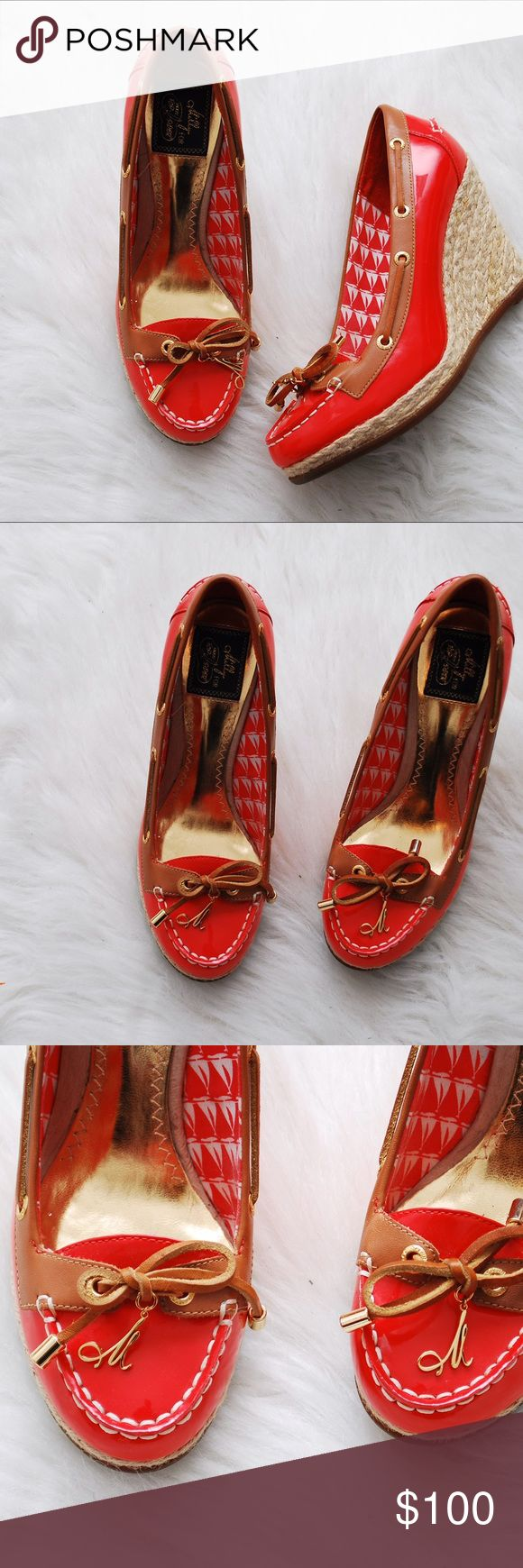 "RARE Milly for Sperry Top Sider Patent Wedges Rare patent leather Sperry Top Sider shoes from the Milly for Sperry Top Sider collection. Excellent condition. Like new. Soles clean. Color: Red-ish orange. 3.75"" wedged heel Sperry Top-Sider Shoes Wedges"