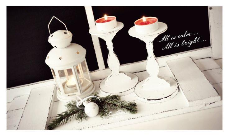 Shabby White Candle Holders ♦ Suporturi Shabby White pentru lumanari