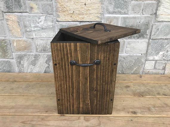 Wooden Trash Can with Lid