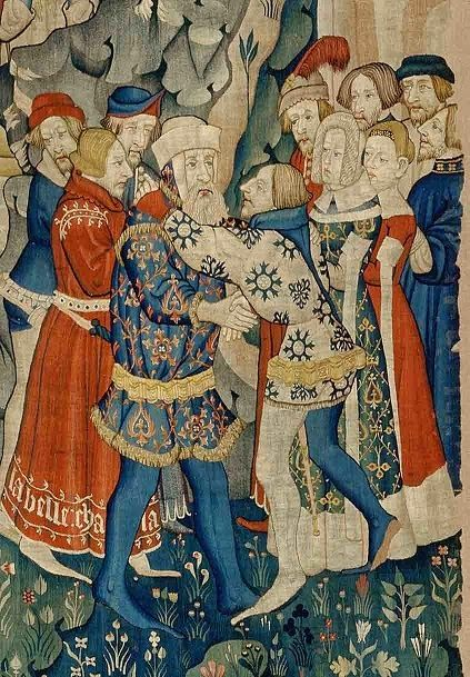A Commonplace Book: Aristocratic Dress, c. 1380 ... maybe from a tapestry from Arras c1380-1400