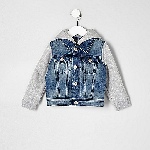 Mini boys blue hooded denim jacket - baby boys coats / jackets - mini boys - boys