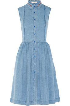Preen Line Alabama embroidered chambray shirt dress   NET-A-PORTER