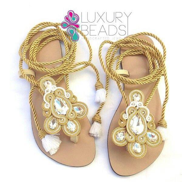 Handmade soutache sandals.