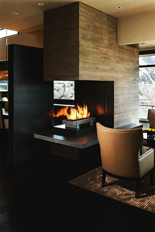 Masculine interior fireplace
