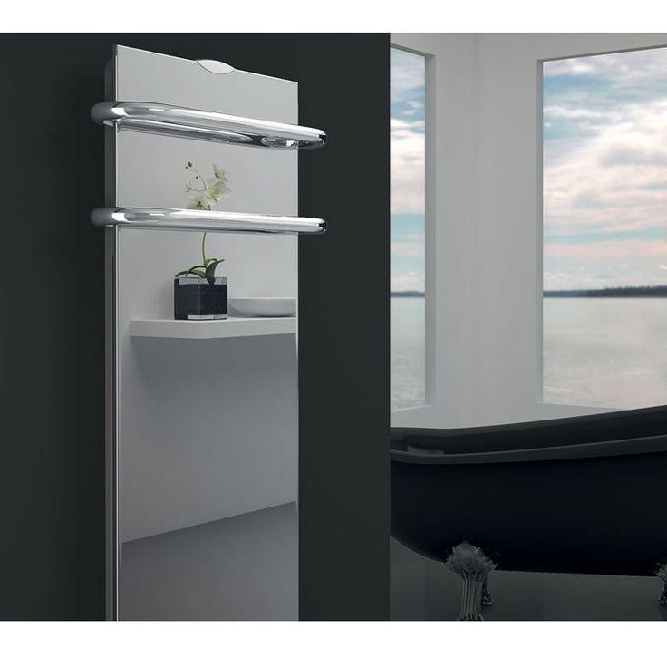 Sèche-serviettes Campa Campaver Bains Sélect 3.0 soufflant. Sèche-serviettes glace de verre effet miroir. Sèche-serviettes design avec angles droits. Disponible également avec glace de verre en noir ou en blanc.