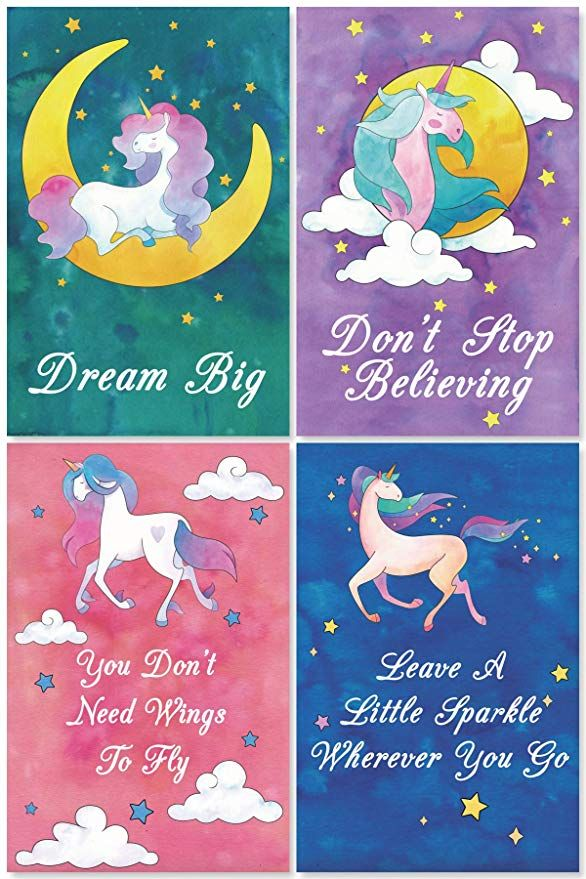 Amazon Com L O Goods Unicorn Posters For Girls Bedroom