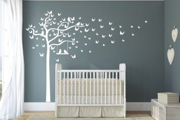 Premium Butterfly and Birds Swinging Tree. Quality Vinyl Matte Wall Decal Sticker (c. All White)