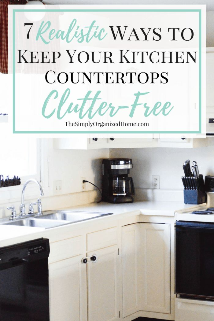Do you struggle with clutter on your kitchen counters? These 7 simple and easy to implement strategies will help you clear the clutter and keep it away! Click over to simplify your kitchen today!