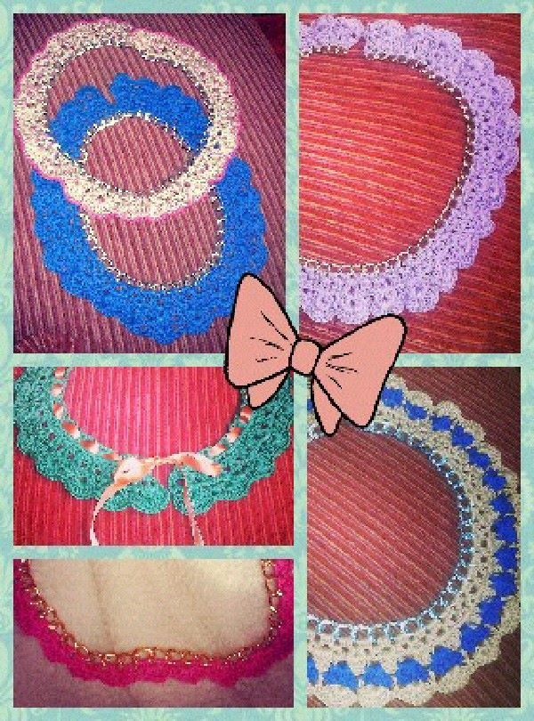 CROCHET COLLAR - COLLANE,COLLETTI ALL'UNCINETTO SU CATENA REALIZZATI A MANO