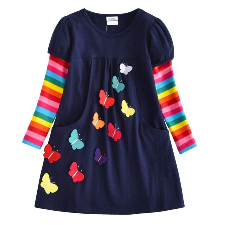 Winter Toddler Girl Clothes Cotton Long Sleeve Girls Dresses for Kids 2-8 Years – Lh5805navy – C418GI8CT09