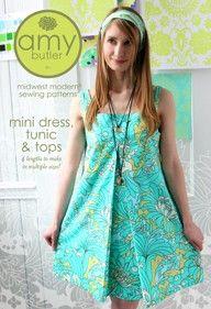 Amy Butler Sewing Pattern, Mini Dress, Tunic & Top
