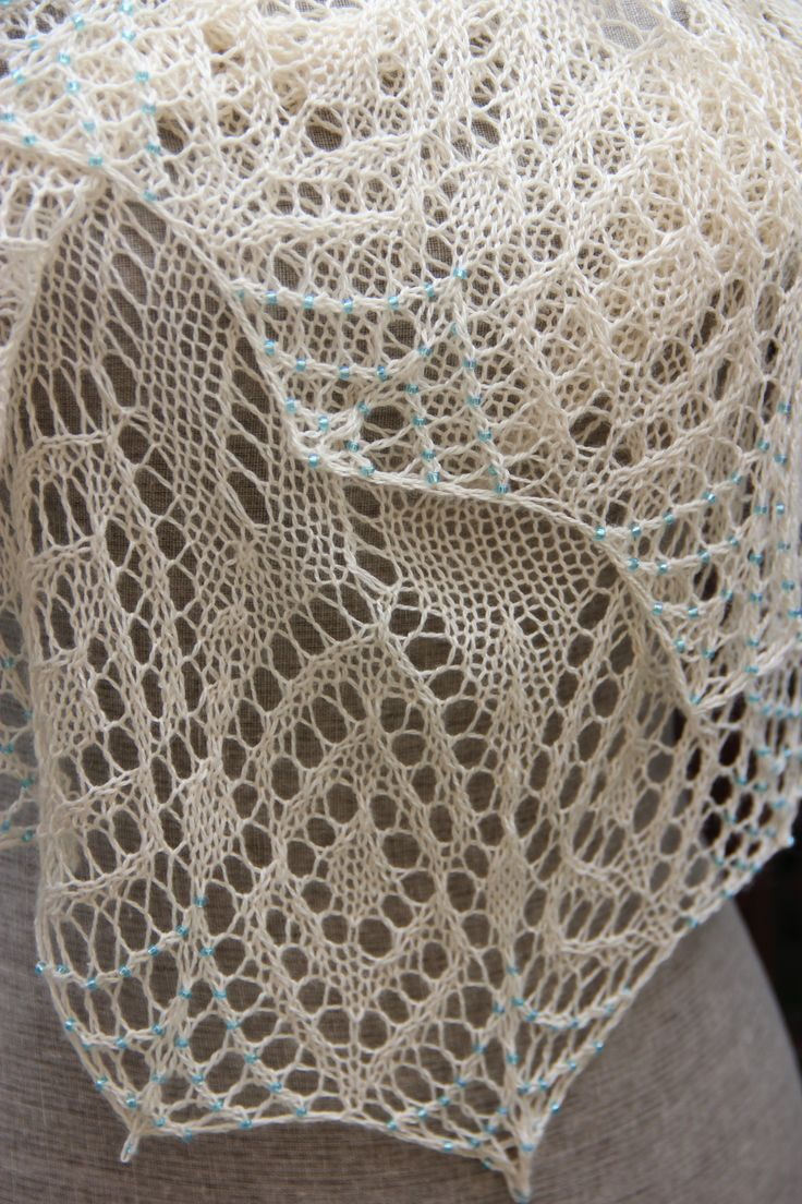 593 best crafts shawl lace k images on pinterest patterns stunning in bloom color natural with shimmering blue beads bankloansurffo Gallery
