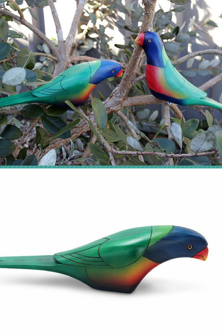 Lorikeets are noisy, rambunctious, sociable, dazzlingly-plumed parrots who are hard not to love. With beautiful colors these birds are hand made from Hoop Pine and then hand painted. They come in either a head up, or head down feeding stance.