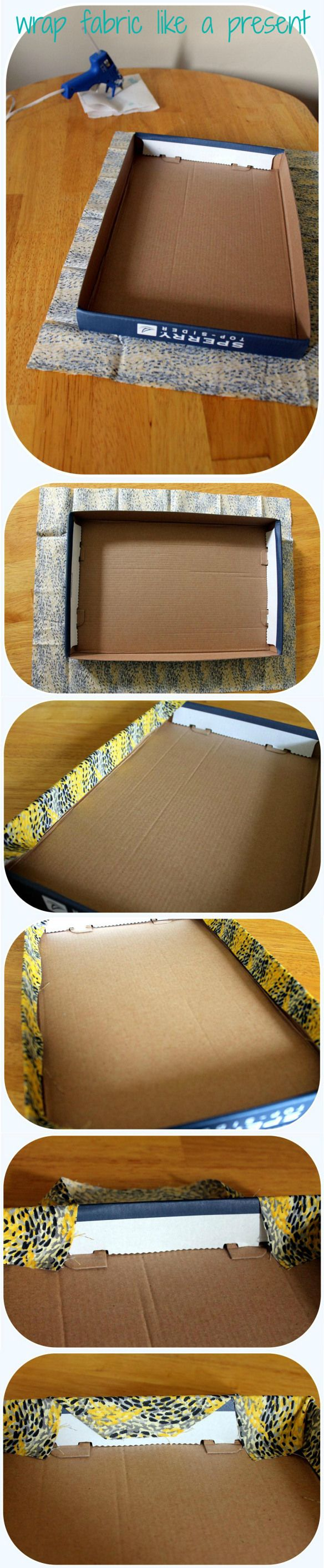 How to cover shoe box lids with fabric (and hot glue gun)