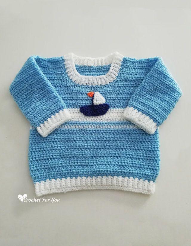 Crochet Set Sail Baby Sweater Free Pattern   Häkeln   Pinterest ...