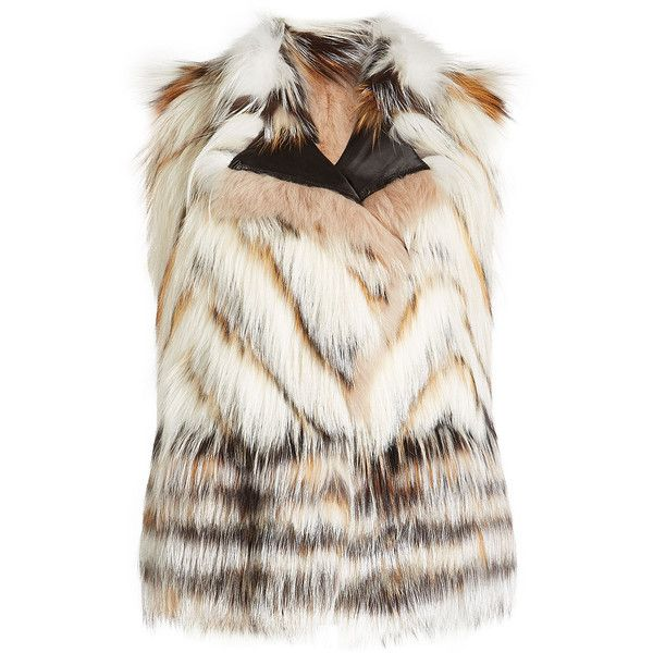 Roberto Cavalli Vest (448,860 INR) ❤ liked on Polyvore featuring outerwear, vests, beige, fox vest, white vests, beige vest, roberto cavalli and vest waistcoat
