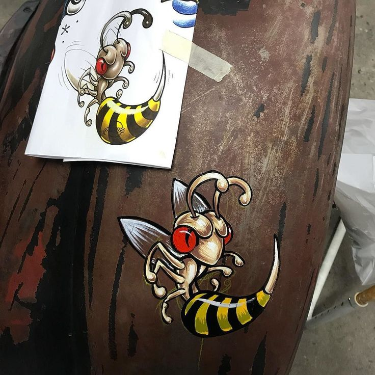 Winging a wasp from this tattoo flash sheet on a crazy hot rod ....   - Looking for an artist to turn your idea in to a kickass tattoo? Let's talk. Get in touch a jesper@bram.tattoo or direct message. #bramtattoo #jesperbram #tatovering #tatovør #tatoveringer #dansktatovørlaug #copenhagentattoo