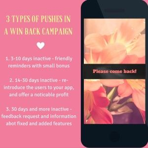 Mobile Marketing Automation | Win back inactive users with push notifications #CRMforMobile #MobileMarketingAutomation #MobileMarketing #MarketingAutomation #push #winBack
