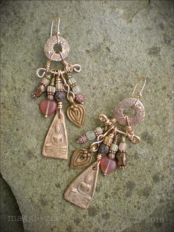 Silk Road Bronze Buddha Amulet Earrings | jewelry