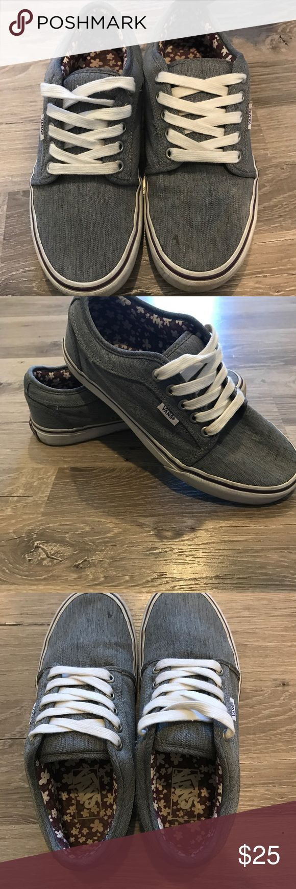 Women's vans Gray speckled vans with purple strip on sole. Inside is purple flower design. Worn once! No wear on them. ☀️ Bundle 3 or more for discount ☀️ Vans Other