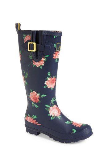 Joules, Welly Rain Boot in Navy Peony