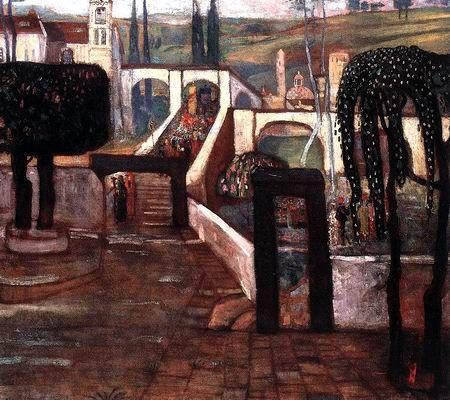 Gulácsy Lajos: ZARÁNDOKOK HAZATÉRÉSE  1907 olaj,  vászon (magántulajdon, Budapest)
