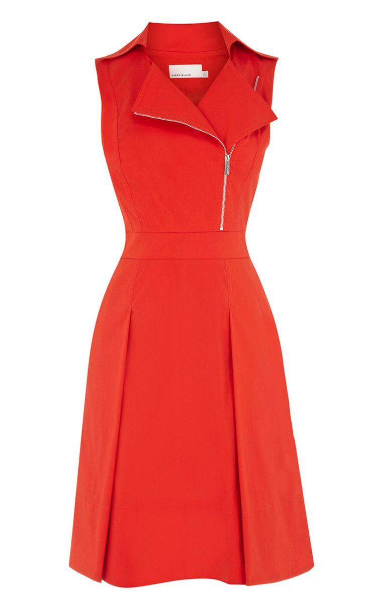 Red Lapel Zipper Ruffles Dress