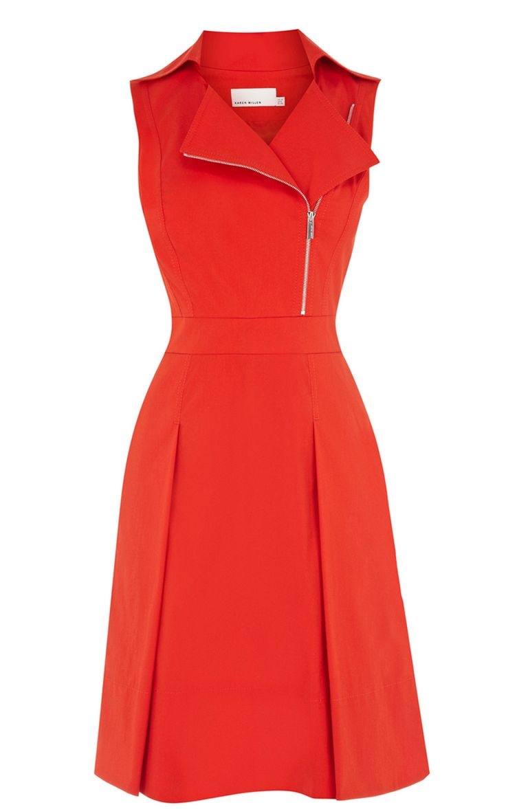 Red Lapel Sleeveless Zipper Ruffles Dress - Sheinside.com