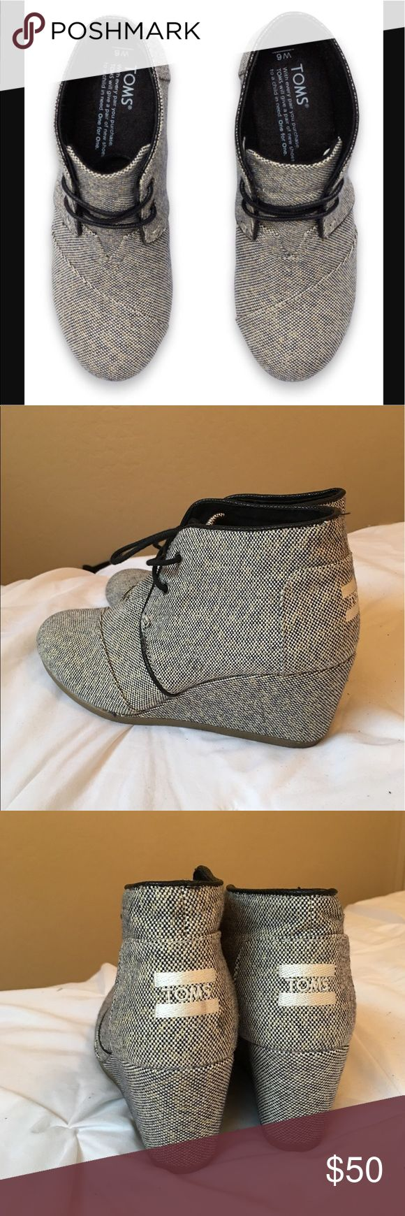 "NEW! Toms Castlerock Metallic Grey Desert Wedge New - never worn! Beautiful Castlerock metallic grey desert Wedge Bootie. Super comfortable and extremely beautiful! 2 1/2"" Wedge. If you own any toms, then you already know how comfortable these are! Get them at this hot off season price while you can! Let me know if you have any questions! Toms Shoes Ankle Boots & Booties"