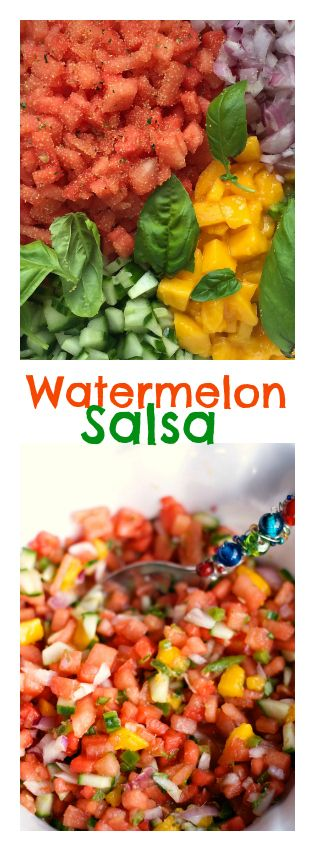 Watermelon Salsa Recipe | ReluctantEntertainer for Memorial Day or Father's Day entertaining