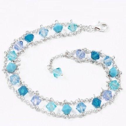 Bratara cu cristale albastre si bleu culoarea cerului http://www.bijuteriifrumoase.ro/cumpara/bicone-5-escape-bracelet-3207