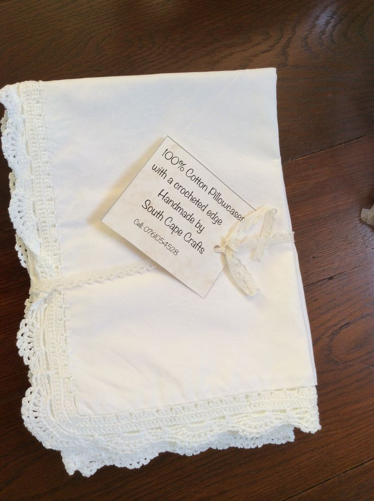 Cotton percale pillowcases with crocheted edge by Cotton Crochet Company
