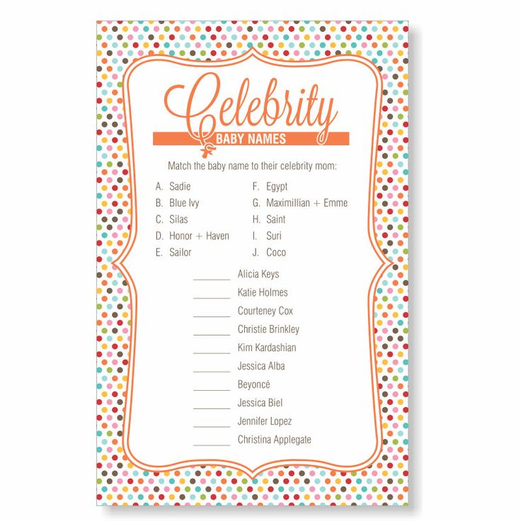 Celebrity Baby Name Game | Baby Shower Game Quiz | Instant Download Printable…