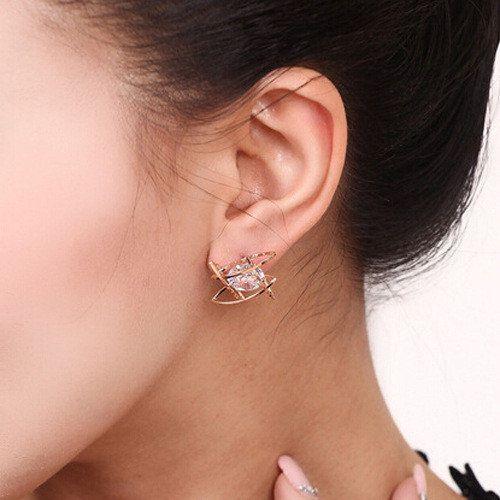 Luxury Creativity Earrings Four Hollow Circle Rhinestone Women Earrings