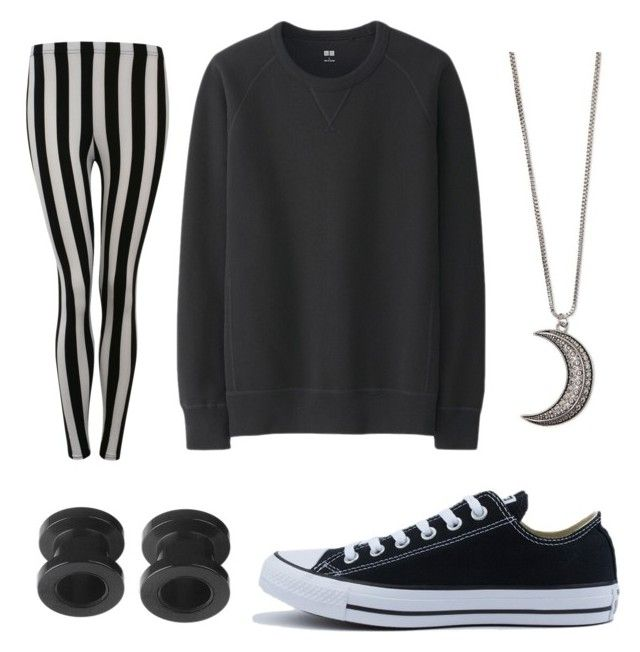 """""""Frankenstein's wife"""" by hailstone360 ❤ liked on Polyvore featuring Uniqlo, Converse, Pilot and Gypsy Warrior"""
