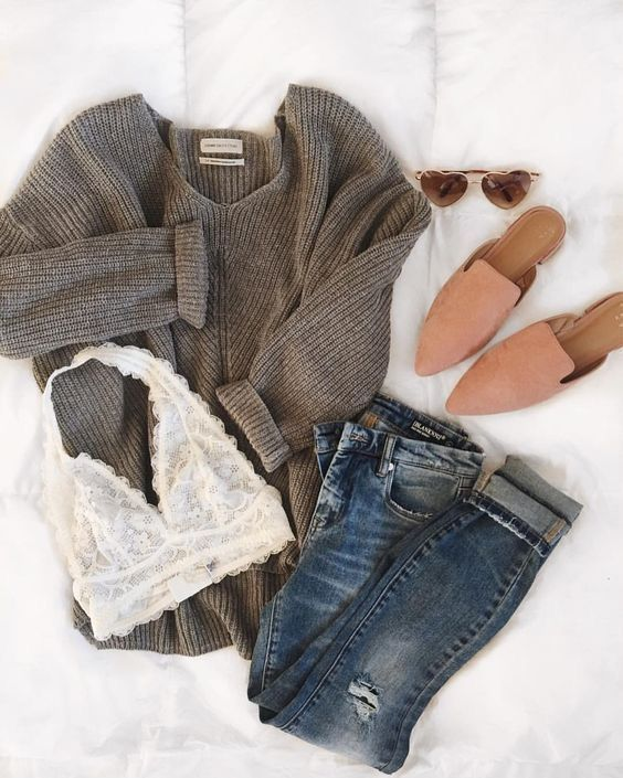 Stitch Fix Stylist: I love sweaters and the bra is cute, but the inside is #lie …   – Outfits