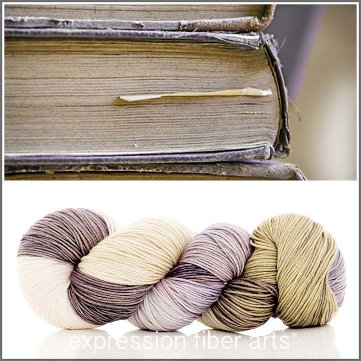 Cant' miss with a name like OLD LIBRARY BOOKS -'RESILIENT' SUPERWASH MERINO SOCK, $24.00  (http://www.expressionfiberarts.com/products/old-library-books-resilient-superwash-merino-sock.html)