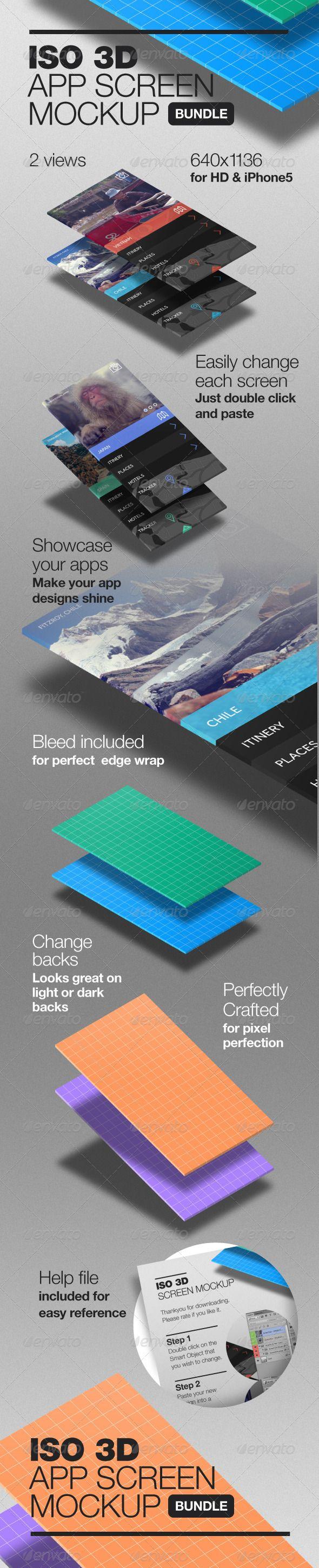 3D Isometric App Screen Mockup - Mobile Displays http://graphicriver.net/item/3d-isometric-app-screen-mockup/6442578 graphic river
