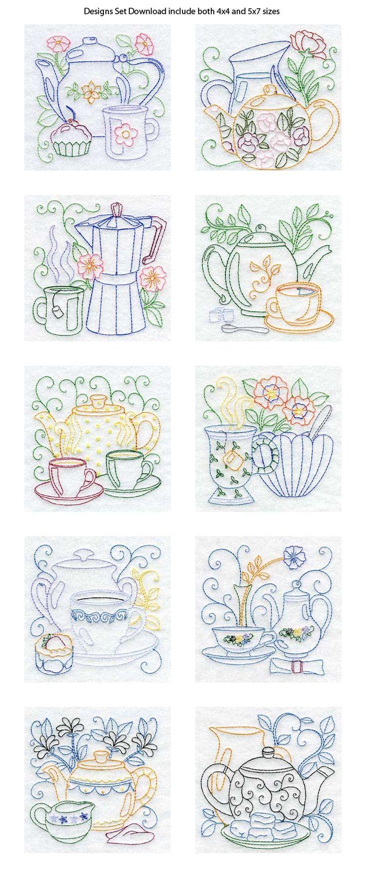 Line Art Tea Pots Embroidery Machine Design Details,ESTES ENTÃO MARAVILHOSOS
